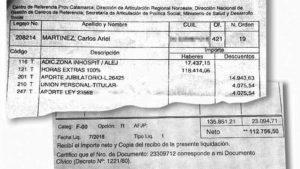 Sueldo de Carlos Martinez, desarrollo social catamarca